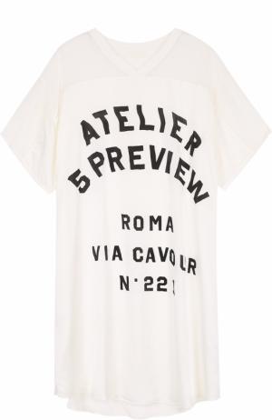 Шелковое платье с надписью и прозрачными вставками 5PREVIEW. Цвет: белый