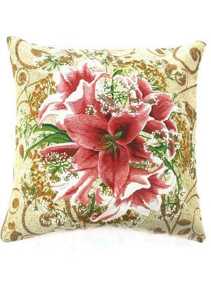 Декоративная подушка 45х45 La Pastel. Цвет: бежевый, розовый, зеленый