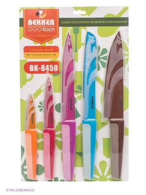 Комплект ножей Bekker. Цвет: коричневый, голубой, красный, фуксия, оранжевый