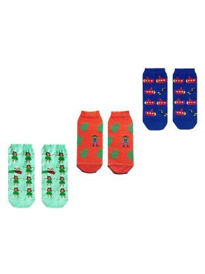 Носки, 3 пары Big Bang Socks. Цвет: синий, морская волна, терракотовый