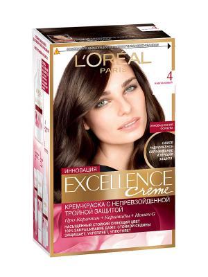 Стойкая крем-краска для волос Excellence, оттенок 4, Каштановый L'Oreal Paris. Цвет: малиновый