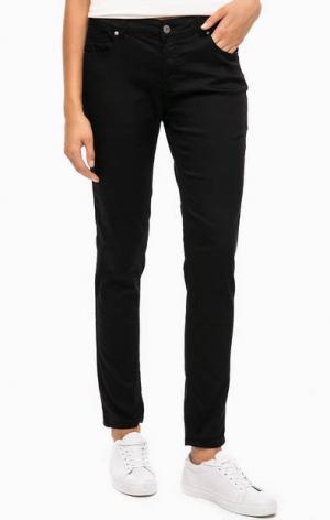 Зауженные черные брюки с пятью карманами BLUE SEVEN. Цвет: черный