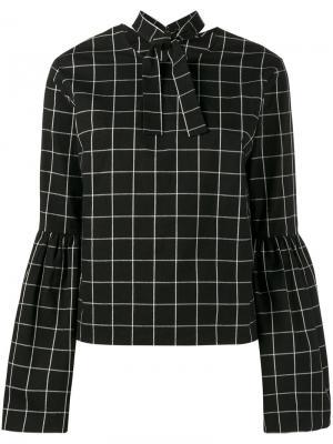 Клетчатая блузка Marta с рукавами-колокол Rejina Pyo. Цвет: чёрный