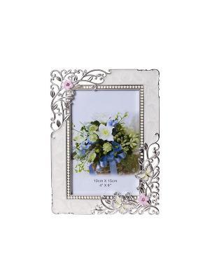 Фоторамка Бабочки и цветы, белая, металлическая со стразами 10х15см PLATINUM quality. Цвет: белый