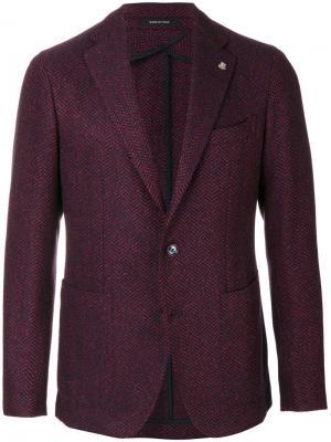 Приталенный тканый пиджак Tagliatore. Цвет: красный