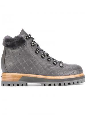Стеганые ботинки Le Silla. Цвет: серый