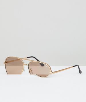 Quay Australia Золотистые матовые солнцезащитные очки-авиаторы X Desi. Цвет: золотой