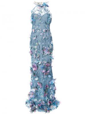 Вечернее платье с цветочной аппликацией Marchesa Notte. Цвет: синий