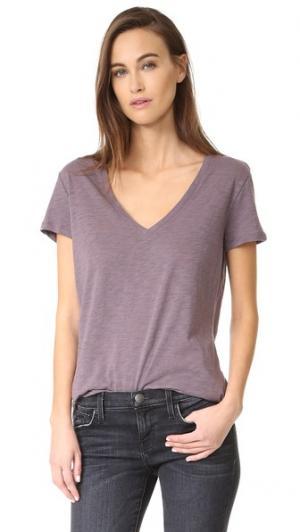 Полупрозрачная футболка с глубоким V-образным вырезом David Lerner. Цвет: перепелиный