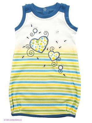 Платье FIM. Цвет: темно-синий, светло-зеленый, желтый