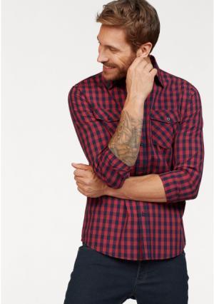 Рубашка JOHN DEVIN. Цвет: красный/темно-синий в клетку
