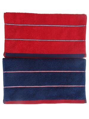 Набор полотенец A and C Collection. Цвет: красный, синий