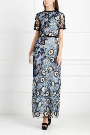 Платье с вышивкой Self-Portrait. Цвет: синий, зеленый