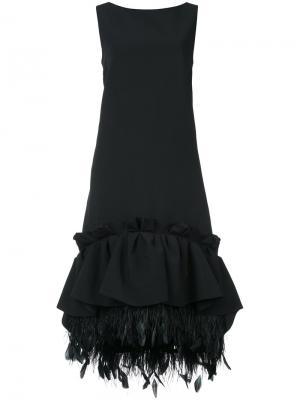 Платье шифт с баской и сборками Huishan Zhang. Цвет: чёрный