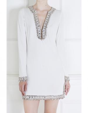 Шелковое платье Azzaro. Цвет: белый