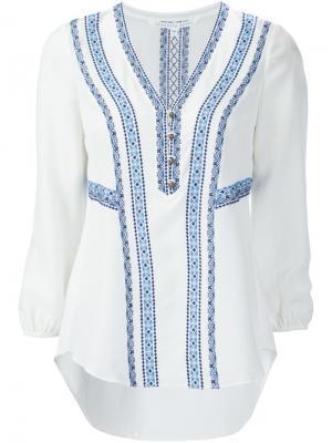 Блузка c V-образным вырезом Veronica Beard. Цвет: белый