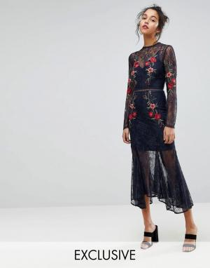 Keepsake Кружевное платье с вышивкой. Цвет: темно-синий