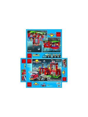 Конструктор пластиковый пожарная станция ENLIGHTEN. Цвет: красный, белый, зеленый