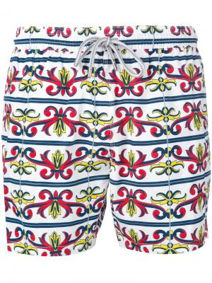 Пляжные шорты с принтом в стиле барокко Capricode. Цвет: белый