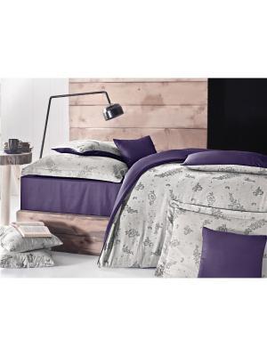Комплект постельного белья BENSON Пупурно-серый, пестротканый, жаккард, 210ТС, 100% хлопок, евро ISSIMO Home. Цвет: фиолетовый