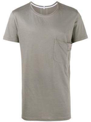 Удлиненная футболка с карманом Lot78. Цвет: серый