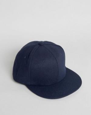 7X Темно-синяя фетровая бейсболка. Цвет: синий