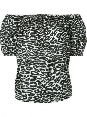 Блузка с леопардовым принтом и открытыми плечами Piamita. Цвет: белый