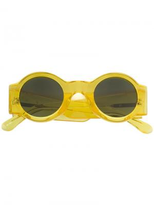 Солнцезащитные очки x Dries Van Noten в круглой оправе Linda Farrow. Цвет: жёлтый и оранжевый