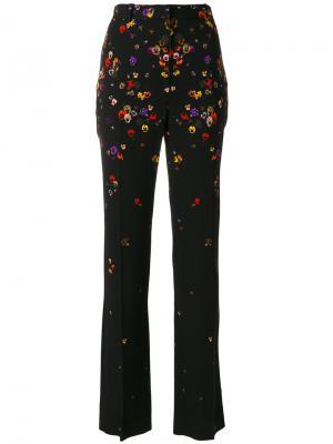 Строгие брюки с цветами Givenchy. Цвет: чёрный