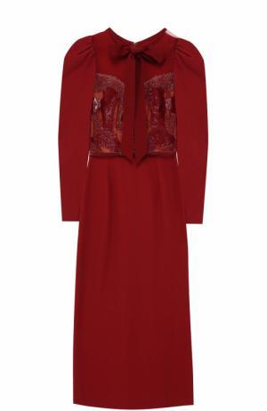 Приталенное платье-миди с рукавом-фонарик Elie Saab. Цвет: бордовый