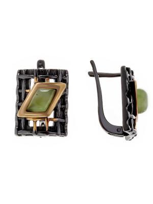 Серьги Балтийское золото. Цвет: черный, зеленый, золотистый