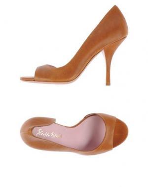 Туфли с открытым носком ERNESTO ESPOSITO. Цвет: коричневый