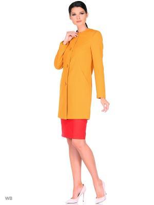 Пальто FORTUNA. Цвет: горчичный