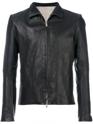 Кожаная куртка кроя слим A Diciannoveventitre. Цвет: чёрный