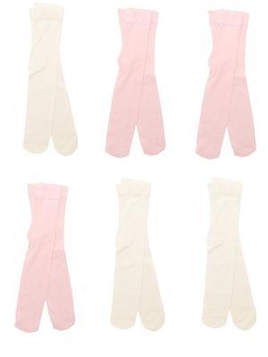 Колготки Детские, комплект 6 шт Malerba. Цвет: молочный, розовый