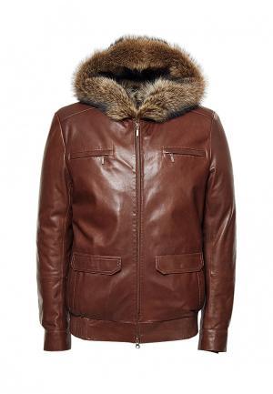 Куртка кожаная Grafinia. Цвет: коричневый