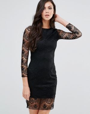 Lipstick Boutique Облегающее кружевное платье с длинными рукавами. Цвет: черный