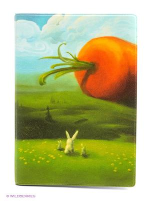 Обложка для автодокументов Заяц и морковка Mitya Veselkov. Цвет: зеленый, оранжевый