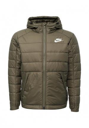 Куртка утепленная Nike. Цвет: хаки