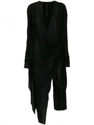 Асимметричный джемпер с драпировкой Barbara I Gongini. Цвет: чёрный