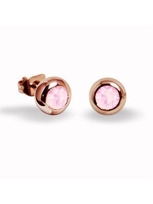 Серьги-пусеты Jolie mini с пудрово-розовыми кристаллами Swarovski в золоте Mademoiselle Paris. Цвет: розовый, золотистый
