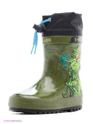 Резиновые сапоги Kakadu. Цвет: зеленый, синий, черный