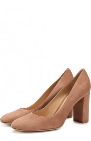 Замшевые туфли Linda на устойчивом каблуке Gianvito Rossi. Цвет: бежевый