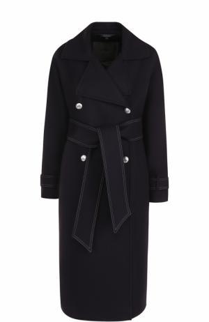 Приталенное двубортное пальто с поясом Belstaff. Цвет: синий