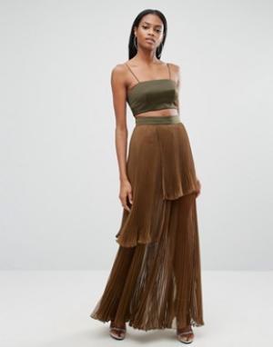 AQ Платье макси 2 в 1 с плиссированной юбкой AQ/AQ. Цвет: зеленый