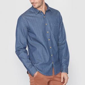 Рубашка джинсовая стандартного покроя с рисунком SOFT GREY. Цвет: деним с рисунком