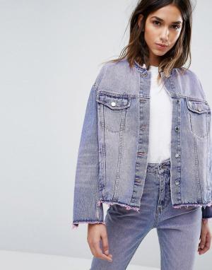 Cheap Monday Розовая выбеленная джинсовая куртка. Цвет: розовый