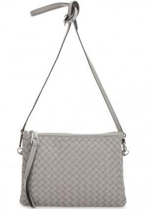 Маленькая серая сумка из натуральной кожи Abro. Цвет: серый