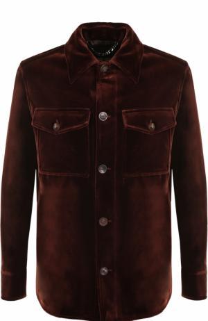 Куртка на пуговицах из смеси хлопка и шелка Brioni. Цвет: темно-коричневый