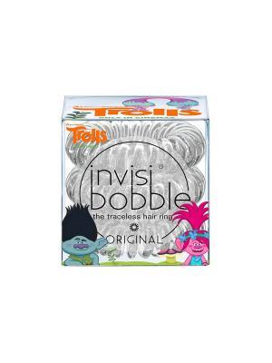 Резинка-браслет для волос invisibobble ORIGINAL Trolls. Цвет: серебристый, прозрачный